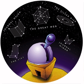 cartoon observatory and constellations of documents
