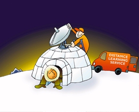 {cartoon igloo being fitted with dish}