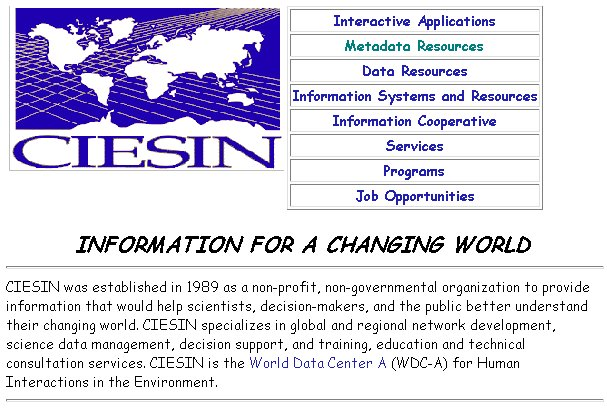 screen capture of CIESIN homepage