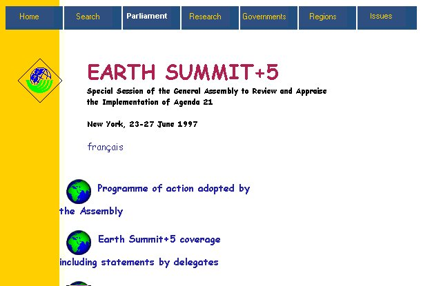 screen capture of Earth Summit +5 homepage