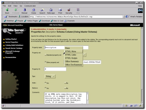 The Site Server WebAdmin interface (running through Netscape Communicator for RedHat Linux)