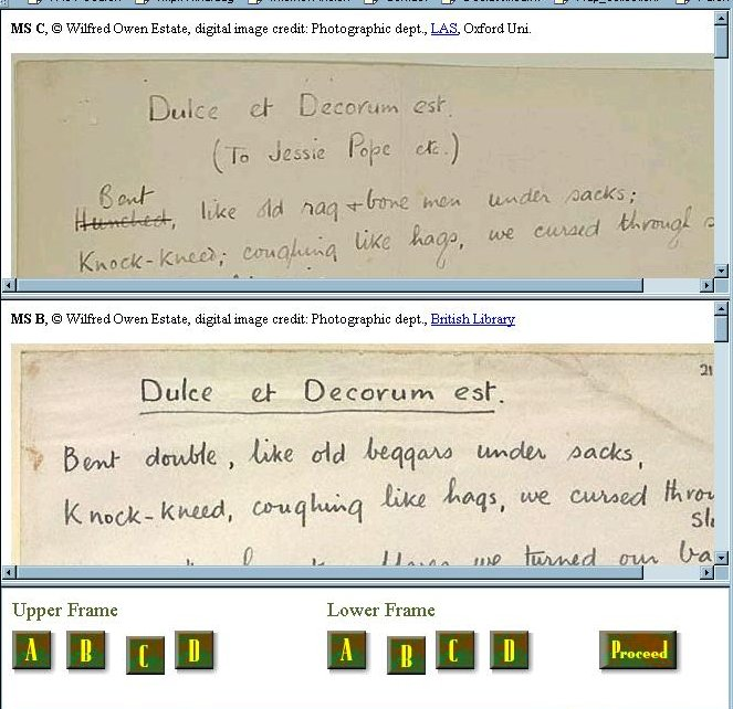 comparison of manuscripts in web page