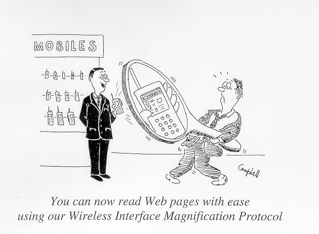 cartoon of wap phone under magnifying glass