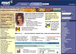 MSN's portal home page, visited on 4 December 2001