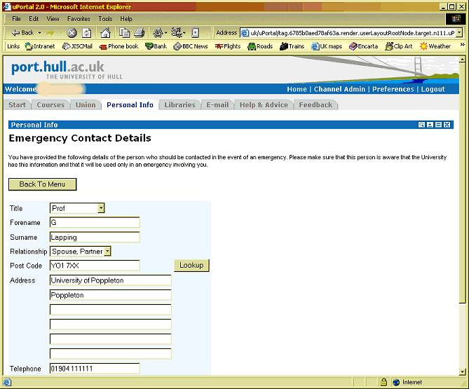 Providing contact details via the Hull portal
