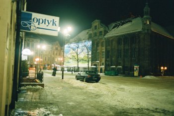 night scene in city square