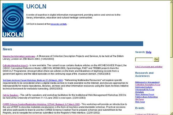 Fig 3 Screenshot (51K): A screenshot of the UKOLN homepage