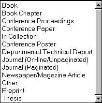 Figure 8 screenshot (21KB): Drop-down list of content types for EPrints