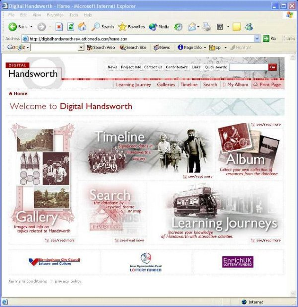 Figure 2: screenshot (87KB): Screenshot of Digital Handsworth front page