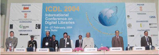 photo (43KB) : Inauguration of ICDL 2004. From left: Prof. Hsinchun Chen, Professor, Department of MIS, University of Arizona, USA; Dr R K Pachauri, Director-General, TERI; Prof. N Balakrishnan, Professor and Chair, Division of Information Sciences, Indian Institute of Science, Bangalore; Dr A P J Abdul Kalam, Hon'ble President of India; Mr Jagmohan, Hon'ble Minister of Tourism and Culture, Government of India; and Mr Vinod Bhargava, Additional Director, Division of Information Technology and Services, TERI