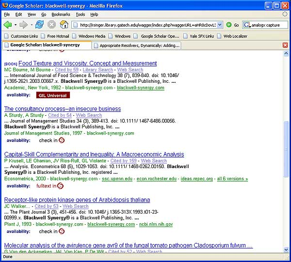 screenshot (67KB): Figure 7: WAG the Dog Web Localizer at Georgia Tech and Google Scholar