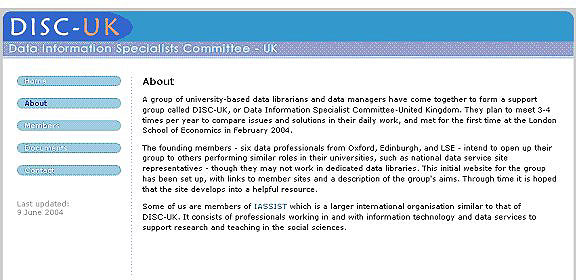 screenshot (47KB) : Figure 2: Screenshot of the DISC-UK Web site