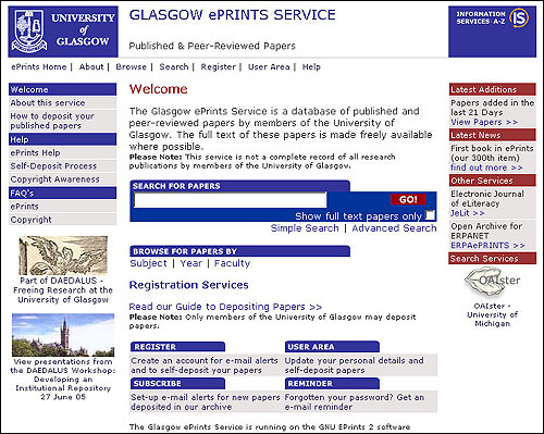 screenshot (75KB) : Glasgow ePrints Service Home Page