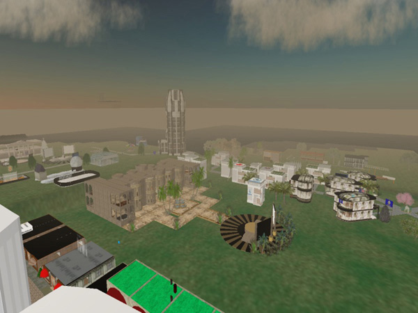 screenshot (69KB) : a view across part of the library territory inside Second Life from the top of the Talis tower