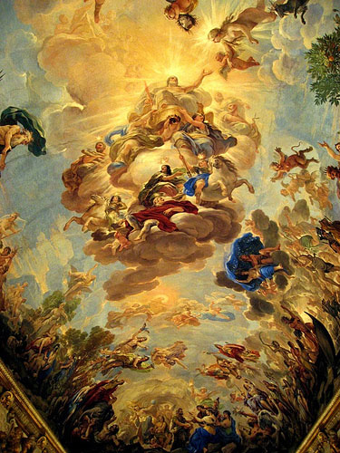 photo (81KB) : Figure 1 : Dinner was held in the splendid Palazzo Medidi-Riccardi. This is a seventeenth-century ceiling by Luca Giordano.