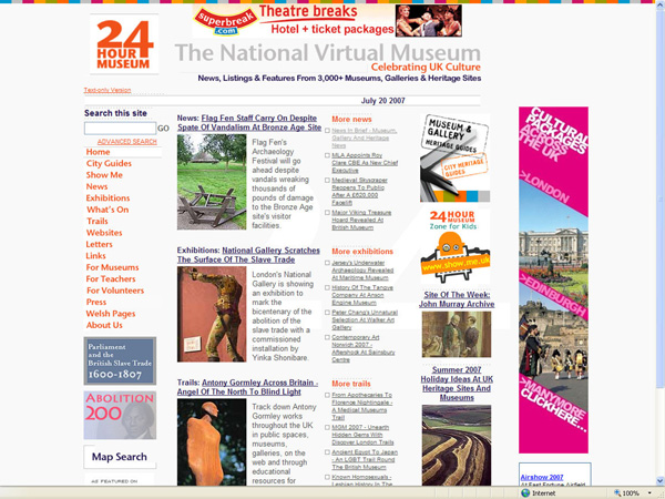 screenshot (130KB): Figure 1: Screenshot of the 24 Hour Museum homepage