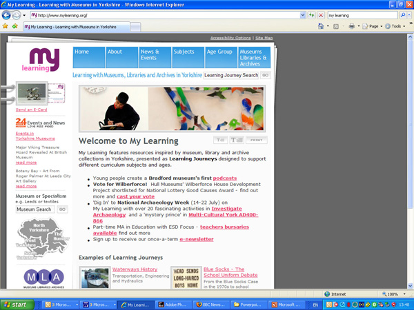 screenshot (116KB): Figure 4: 24 Hour Museum RSS feed seen on My Learning, the Yorkshire Museum's hub education Web site