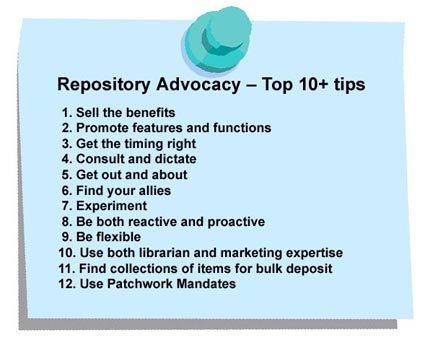 graphic (43KB ) : Figure 7 : Repository Advocacy - Sally Rumsey's Top Ten+ Tips