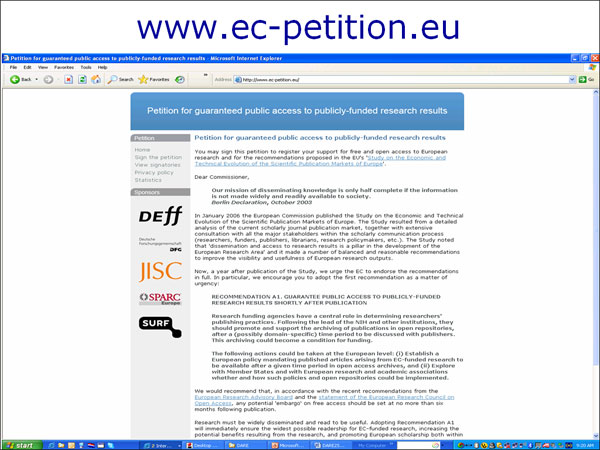 screenshot (64KB) : Figure 10 : Academics petition the EC for Open Access