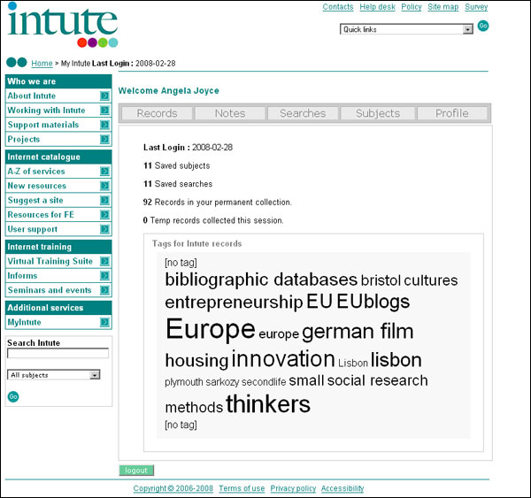 screenshot (69KB) : Figure 1 : Example of MyIntute screen with a tag cloud