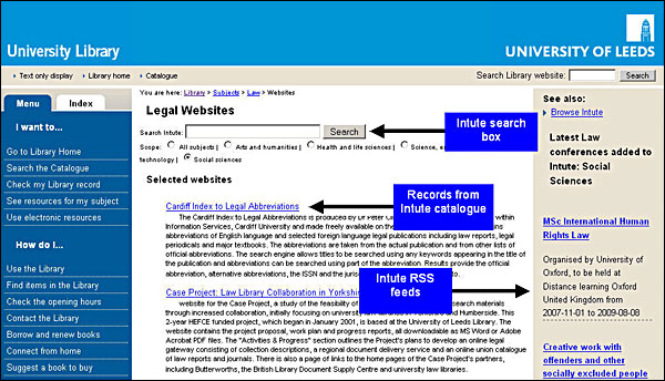 screenshot (72KB) : Figure 2 : Leeds University Library subject guide