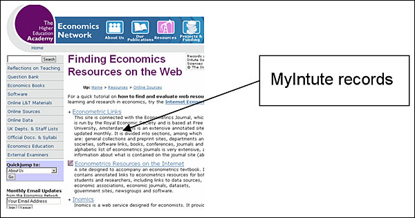 screenshot (44KB) : Figure 4 : Figure 4: Economics Network use of MyIntute to import economics records