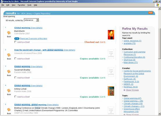 screenshot (37KB) : Figure 2 : The PRIMO user interface: brief results with faceted navigation options to refine results