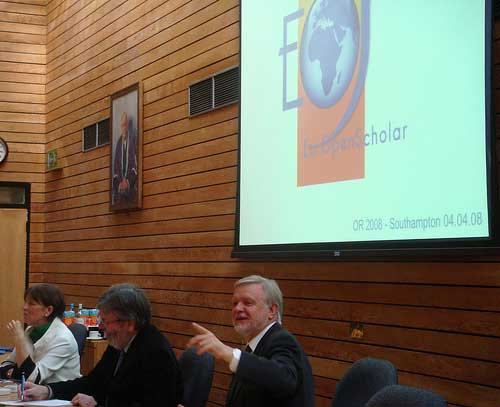 photo (25KB) : Figure 9 : Dr Alma Swan, Dr John Smith and Prof Bernard Rentier speaking at the EurOpenScholar (EOS) meeting