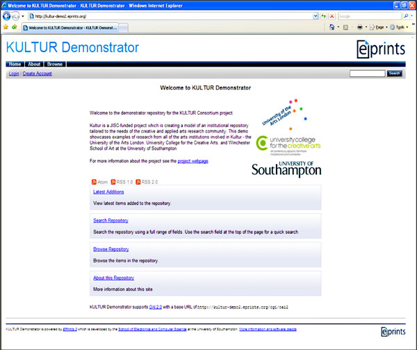 screenshot (67KB) : Figure 1 : Original Kultur Demonstrator Home Page
