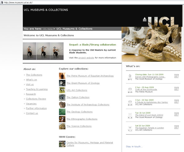 screenshot (53KB) : Figure 3 : Entry page of Museums and Collections, showing the great variety of collections at University College London