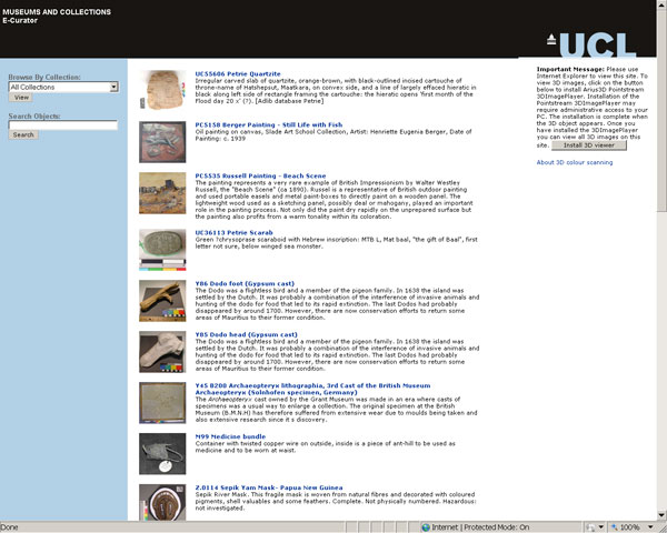 screenshot (61KB) : Figfure 8 : Entry site of the E-Curator prototype with objects from UCL Museums and Collections.