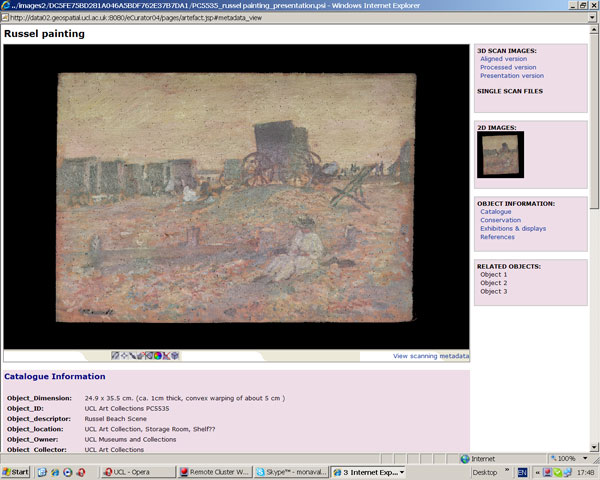 screenshot (67KB) : Figure 9 : Russell painting from UCL Art Collections ready to browse in the E-Curator prototype, object metadata underneath the 3D object