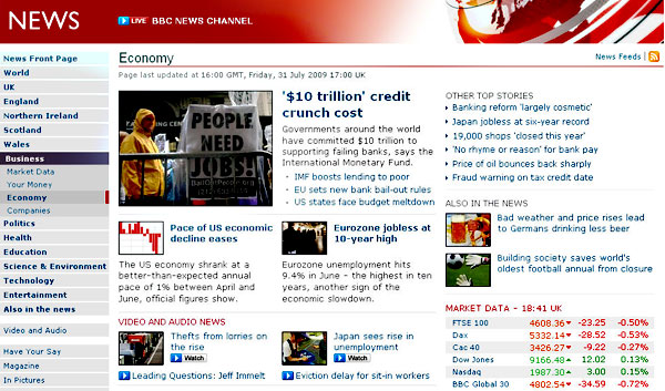 screenshot (90KB) : A snapshot of BBC Economy News stories as displayed on 31 July 2009