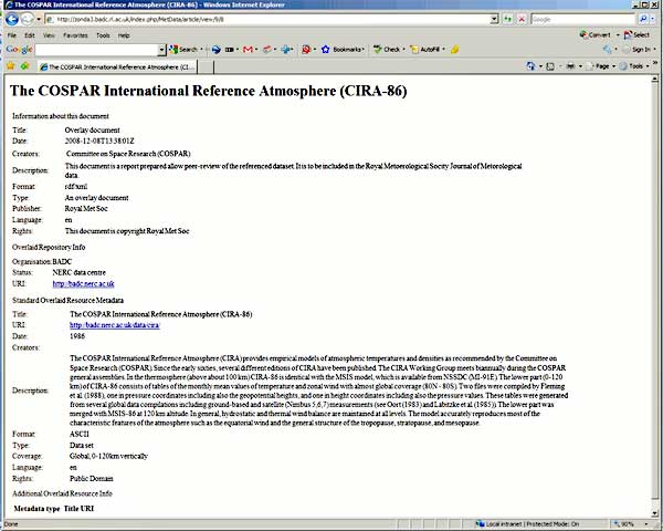 screenshot (44KB) : Figure 10 : The link to the item allows the Web browser to render the document using an XSLT style sheet