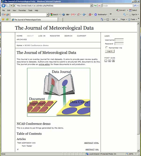 screenshot (52KB) : Figure 6 : The front page of the journal demo. There is a link from the front page and from the submission page to the overlay document editor