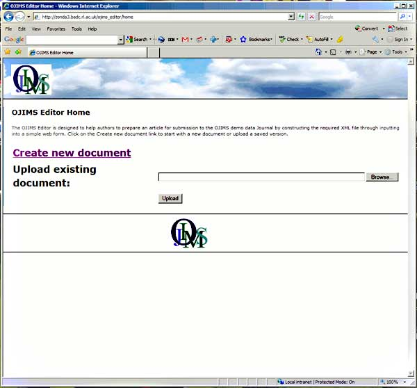 screenshot (38KB) : Figure 7 : The overlay document creation tool. This page is where a new document can be created either online or by uploading an existing document in the same format which has been created by other means