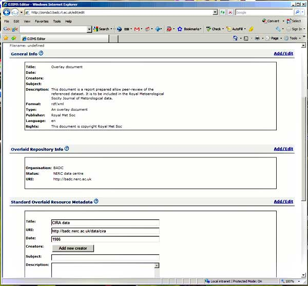 screenshot (44KB) : Figure 8 : The document in the editing stage. Some fields are editable, others (e.g. format) are set by the configuration of the editor