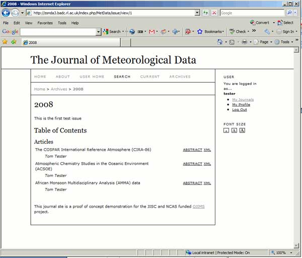 screenshot (36KB) : Figure 9 : After submission and review, the documents are viewable in the same ways as any other online journal. The contents of a demonstration journal issue are shown in this screenshot