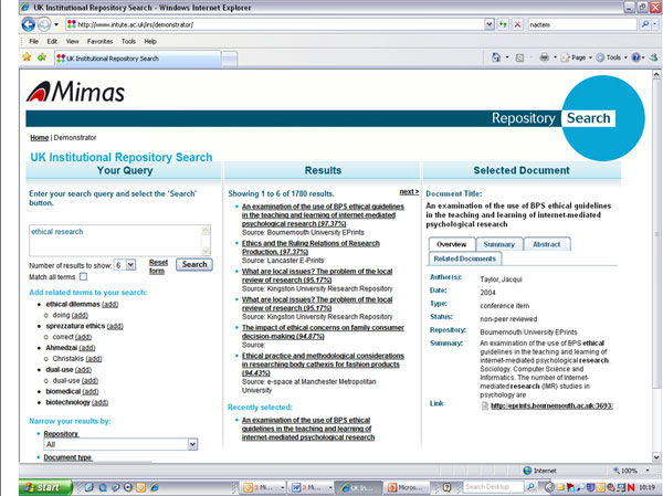 screenshot (77KB) : Figure 1 : Screenshot from the conceptual search