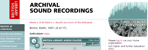 screenshot (98KB) : Figure 4 : Holocaust Survivors Collection