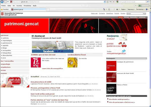 screenshot (62KB) : Figure 1 : The portal Patrimoni Gencat