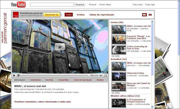 screenshot (66KB) : Figure 4 : The portal Patrimoni Gencat on YouTube