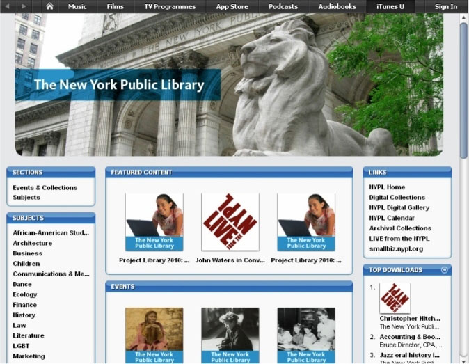 screenshot (97KB) : Figure 5 : iTunes U at New York Public Library