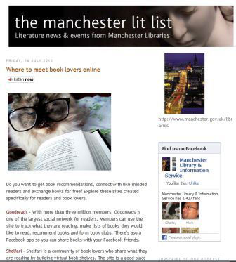 screednshot (32KB) : Figure 1 : Manchester Libraries blog - Manchester lit list