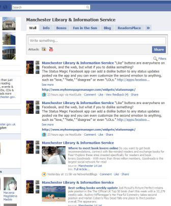 screenshot (38KB) : Figure 2 : Manchester Libraries Facebook page
