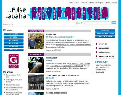 screenshot (47KB) : Figure 3 : Christchurch City Libraries teen blog – the pulse / te auaha