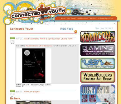 screenshot (39KB) : Figure 4 : Austin Public Library teen blog – Connected Youth