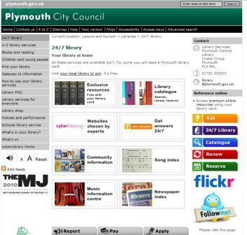 screenbshot (36KB) : Figure 6 : Plymouth Council