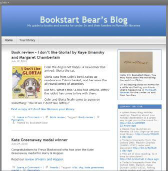 screenshot (29KB) : Figure 7 : Plymouth Library children's blog – Bookstart Bear Blog