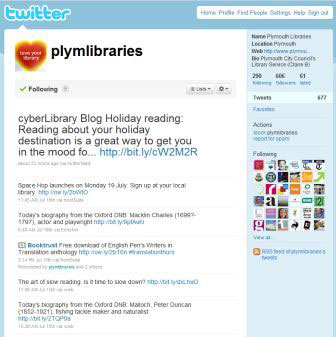 screenshot (27KB) : Figure 8 : Plymouth Libraries on twitter